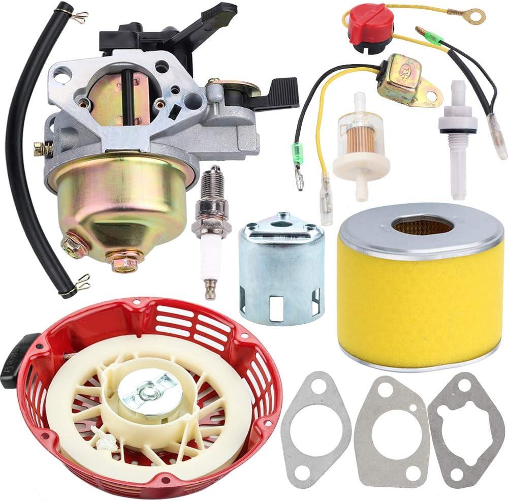 Kizut GX 340 GX 390 Carburetor + Recoil Starter + Air Filter Spark Plug Kits for Honda GX340 11HP GX390 13HP Engine Generator Motor Lawn Mower WT40 Water Pump Tiller Cultivator