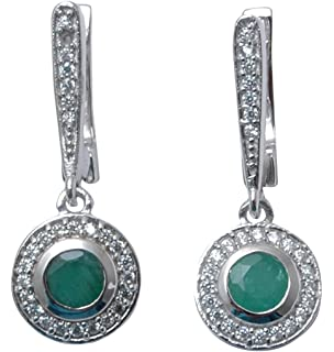 Banithani 925 Sterling Silver Wonderful Emerald Stone Stud Earrings Indian Fashion Jewelry