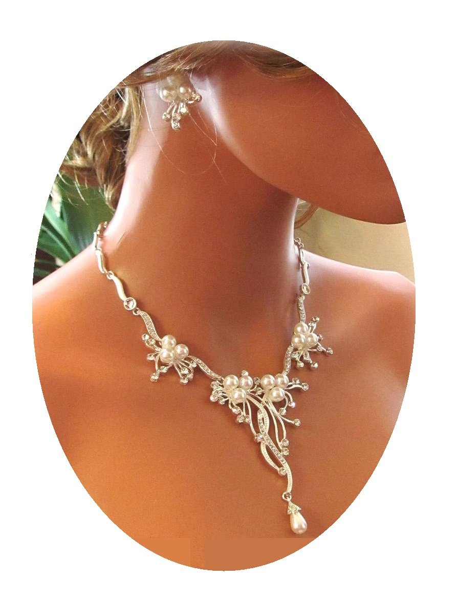 Christina Collection Pearl Crystal Branch Flower Vine Necklace Set Fashion Jewelry Boxed (#159+) (silver-plated-base)