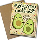 Avocado Pregnancy Reveal Scratch Off Card 4 Pack | with Kraft Envelopes | Folded Cards | Kawaii | Made in Canada