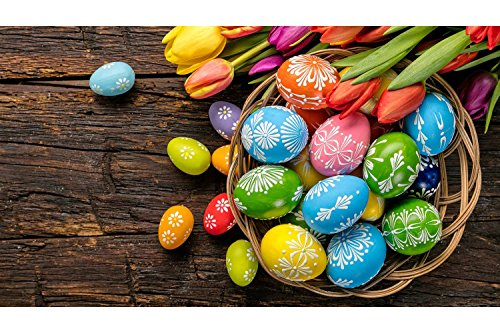 Sim,1500 Pieces Wood Jigsaw Puzzle, Perfect Choice for the Puzzle Lover 34.4 X 22.6 Inch Nobleness Gift in Box Gift-Wrap With Glue Powder : Easter Eggs Colorful Basket