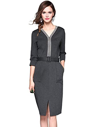 Uejunbo Womens V Neck Wear To Work Dress Office Business Pencil
