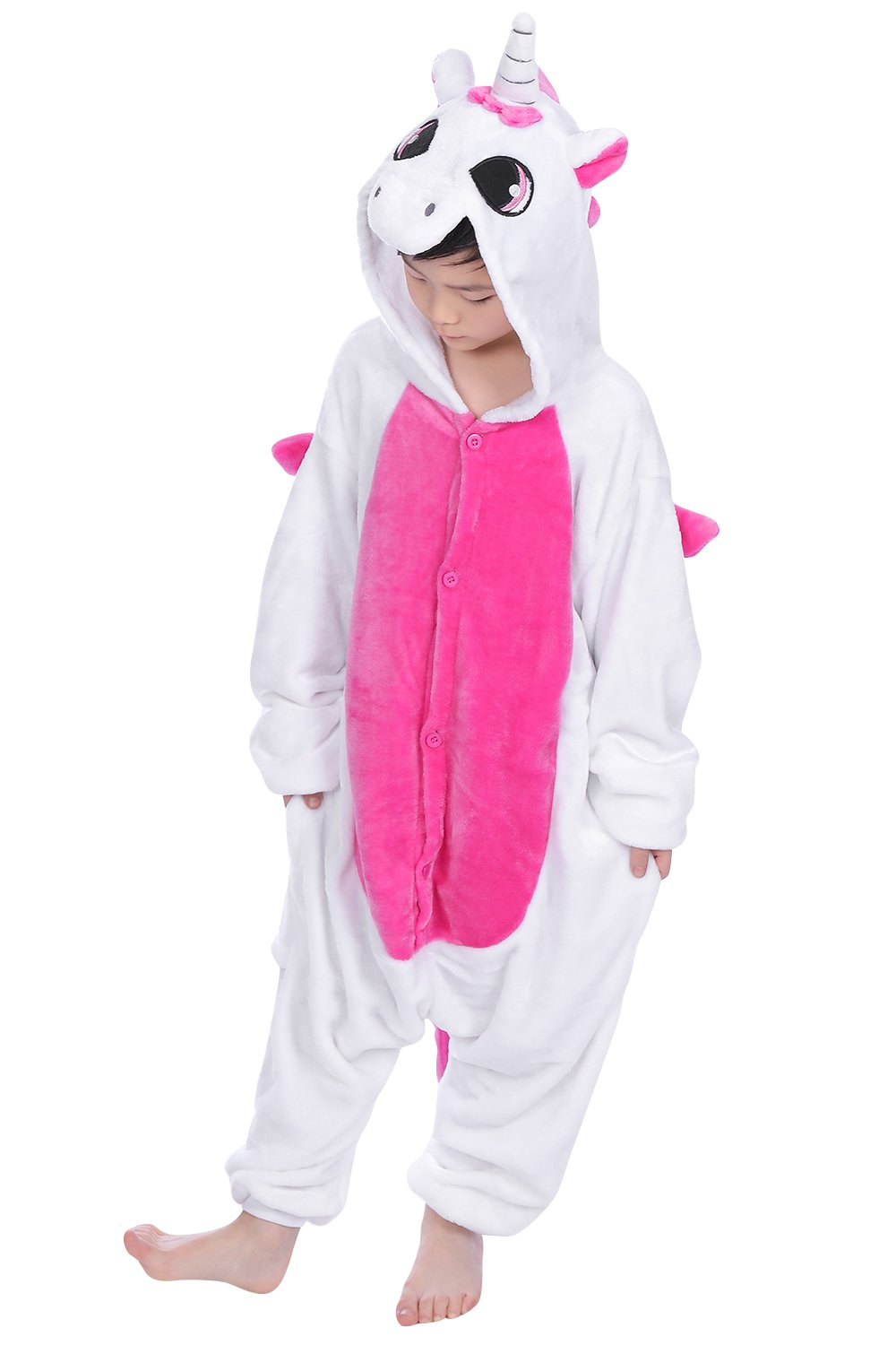 Dolamen Kids Unisex Onesies Kigurumi Pyjamas, Girls Boys Flannel Animal Sleepsuit Nightwear Hoodie, Halloween Costume Clothing, Xmas Onesie, Cosplay & Party