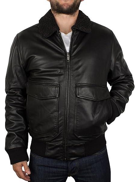Levis Hombre Leather Flight Jacket, Negro, Small