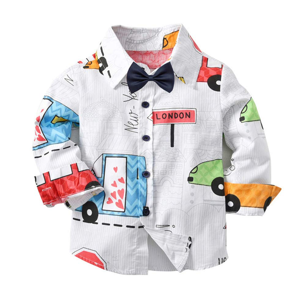 bd5796b3c Amazon.com: Gentleman Boys Shirt Ankola Baby Toddler Boys Button Down Long  Sleeve Cartoon Print Shirt Blouse Autumn Top with Bow Tie (3T, Multicolor):  Baby