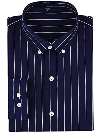72e3eee1bdbe DOKKIA Men's Casual Long Sleeve Vertical Striped Slim Fit Dress Shirts  (Navy Blue White,