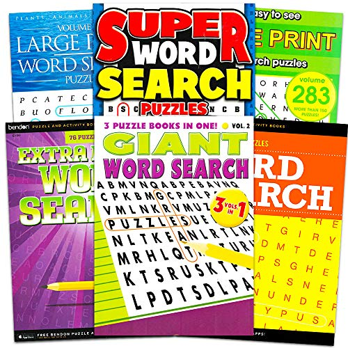 Large Print Word Search Books - Set of 6