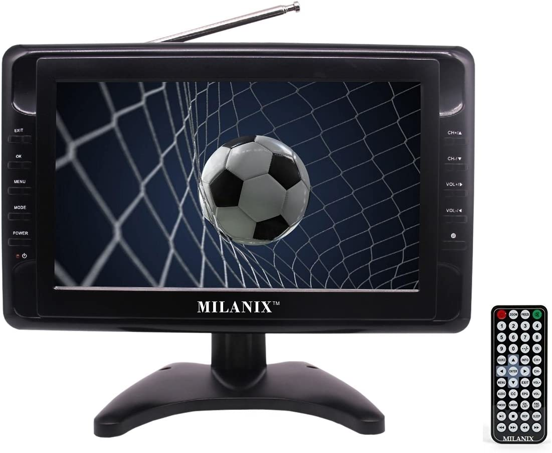 USB//SD Card Slot Milanix MX9 9 Portable Battery Powered Widescreen LCD Handheld TV with Detachable Antennas and AV Inputs Built in Digital Tuner