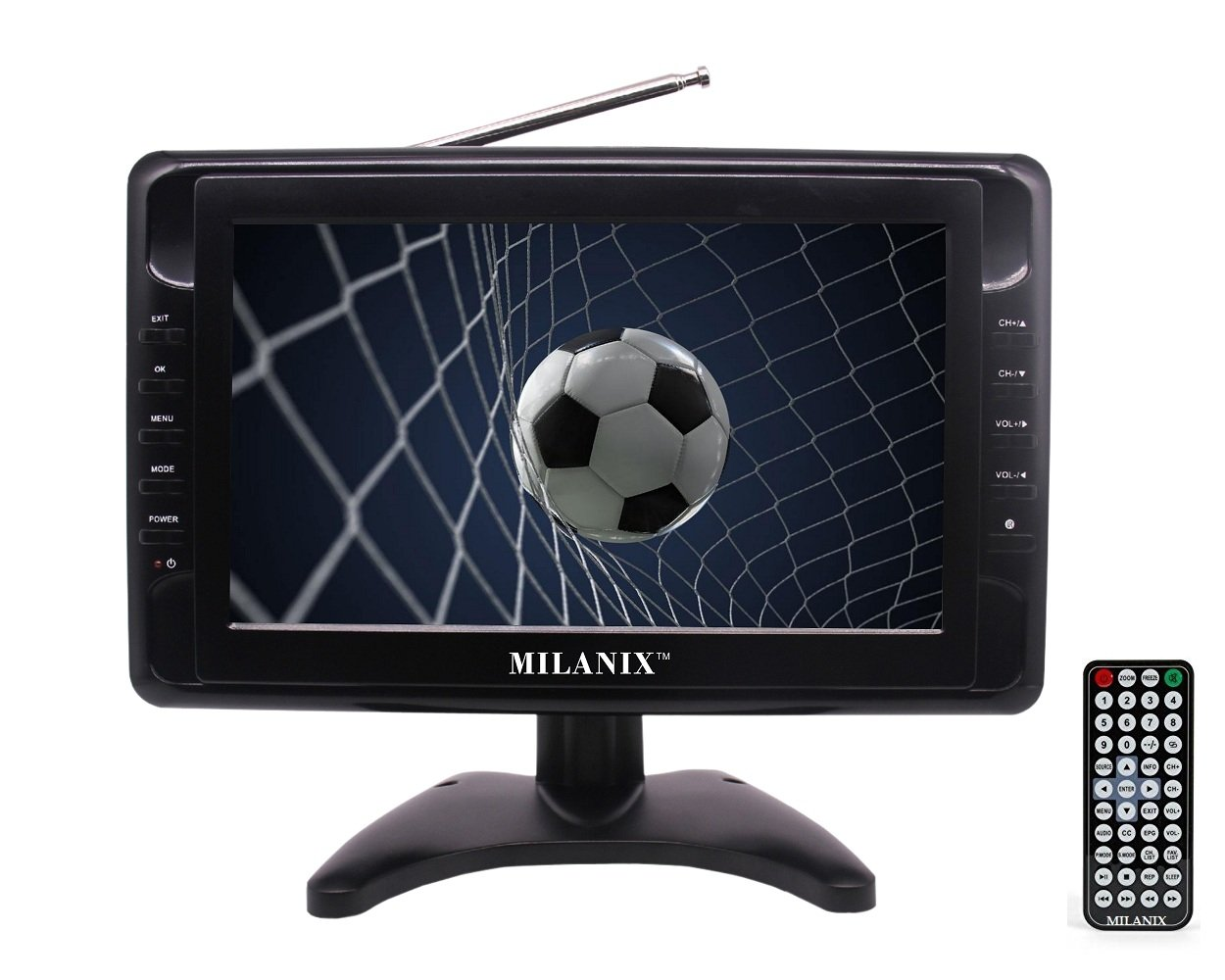 Milanix MX9 9'' Portable Widescreen LCD TV with Detachable Antennas, USB/SD Card Slot, Built in Digital Tuner, and AV Inputs