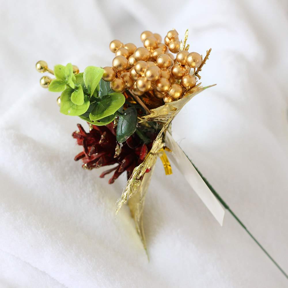 Riverbyland Christmas Picks Golden Berry Christmas Spray Pinecone Pick Set of 10