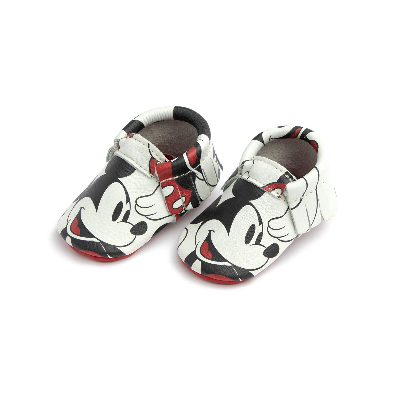 Freshly Picked - Soft Sole Leather Moccasins - Disney Baby Girl Boy Shoes - Size 5 Mickey Mouse by Freshly Picked