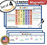 "Magnetic Reward Chart - 17"" x 11"" inches - Set of 4 - Dry Erase Magnetic Chore Chart - Kids Chore Chart Magnet - Children Teaching Resource - Kids Incentive Chart - Child Behavior Chart (Blue)"