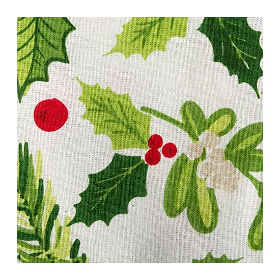 "DII 52x52"" Square Cotton Tablecloth, Boughs of Holly - Perfect for Dinner Parties, Christmas, Holidays, or Everyday use - FOR YOUR TABLE - This square tablecloth measures 52x52"", appropriate for a table that seats 4-6 people. EASY CARE - 100% cotton. Machine washable, gentle cycle. Low iron if needed. ADDS A FINISHING TOUCH - Deck the halls with boughs of holly printed in bright red and green dancing on this durable tablecloth that will last season after season. - tablecloths, kitchen-dining-room-table-linens, kitchen-dining-room - 617ll4JO2WL. SS570  -"