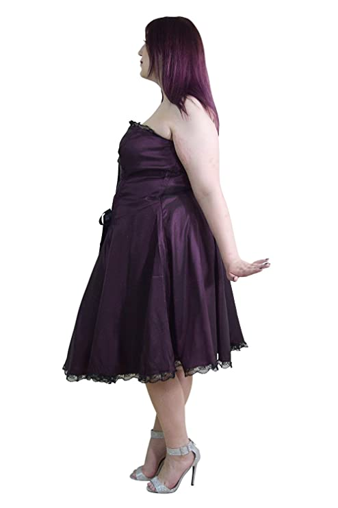 fbb943b3b84f Skelapparel Plus Size Gothic Rockabilly Purple Satin Corset Lace-up Dress  at Amazon Women's Clothing store: