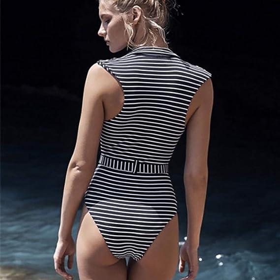 feddd776fb Luweki Womens Striped Monokini Swimsuits High Waisted Bikini Bathing Suits  for Women One Piece Tummy Control Swimwear at Amazon Women's Clothing store: