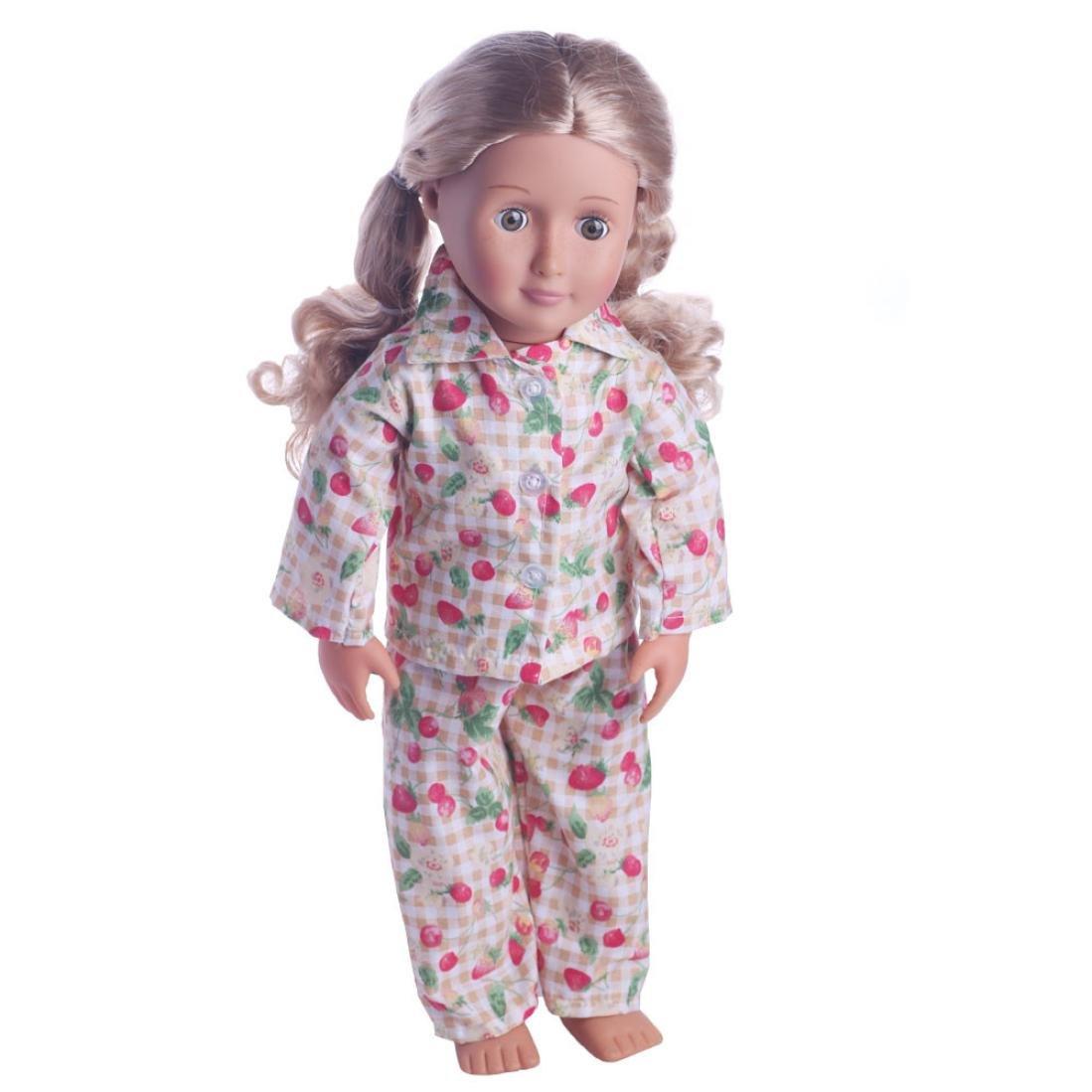 2 Stück Pyjamas, Süße Nachthemd Kleidung für American Girl Puppe 18 ...