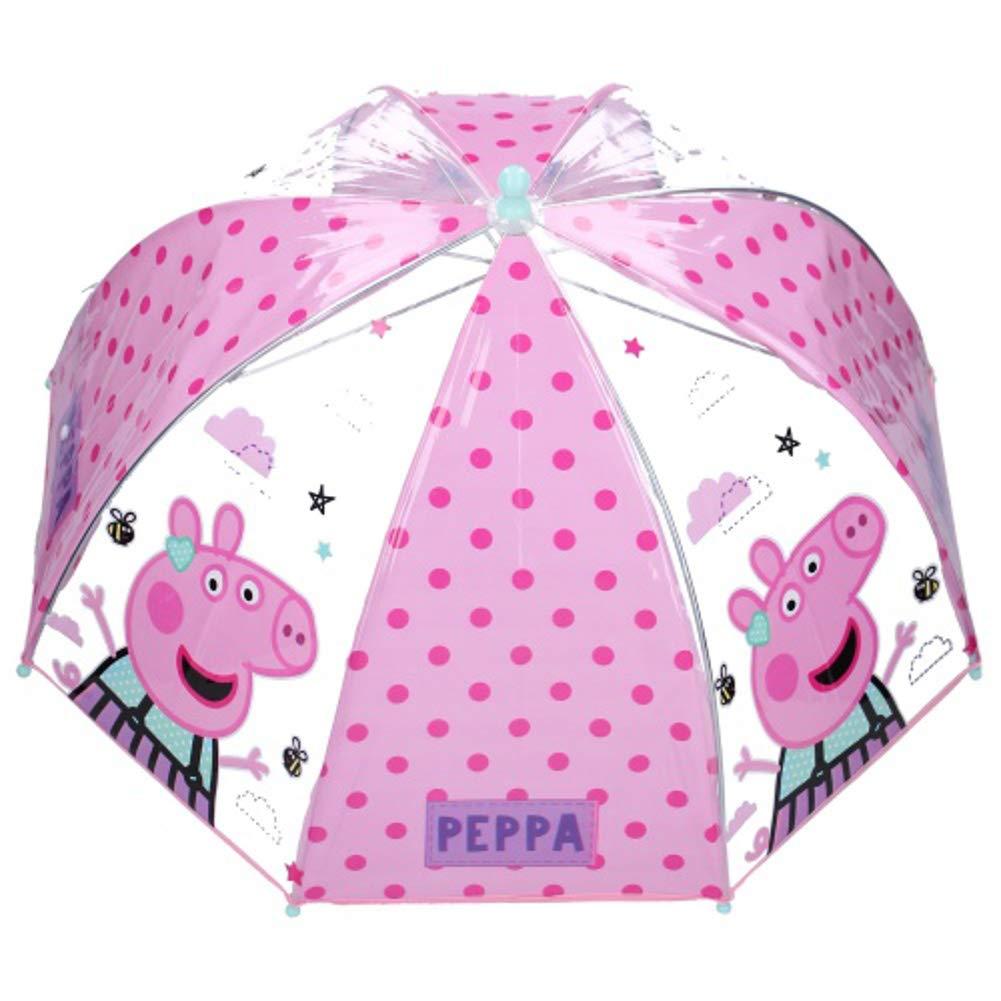 Vadobag Peppa Pig Kinder Stockschirm Regenschirm Schirm manuell transparent