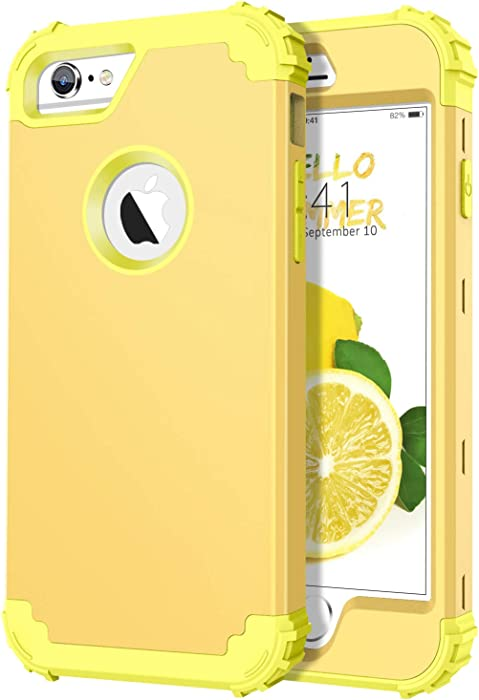 DUEDUE iPhone 6S Case, iPhone 6 Case,Heavy Duty Rugged Shockproof Drop Protection 3 in 1 Hybrid Hard PC Covers Soft Silicone Bumper Full Body Protective Case for iPhone 6S/iPhone 6,Lemon Yellow