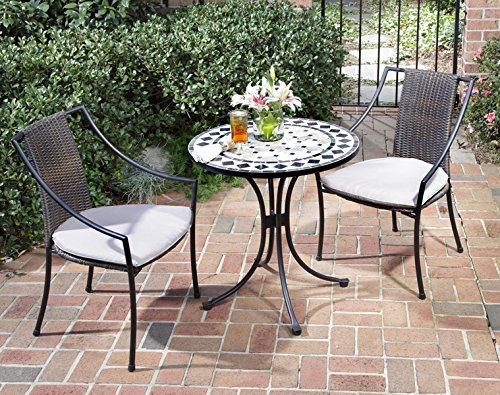 Black Patio Set 3 Piece Tile Top Bistro Furniture Chairs Table Pool Outdoor