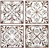 """Deco 79 Metal Wall Decor (Set of 4), 14 by 14"""""""