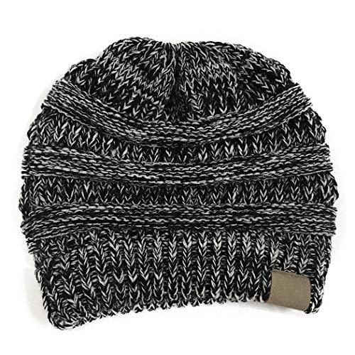 eubell Womens Ponytail Messy Bun Knite Beanie Winter Warm Stretch Hat Skull Cap