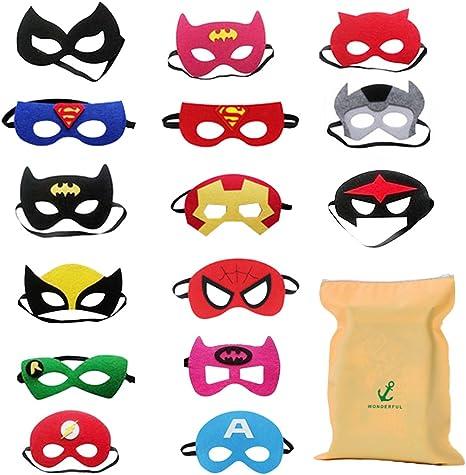 Imagen deDIY House 15 Piezas Mascaras Superheroes para Niños Kids Party Masquerade, Superhero Party Mask para niños Superhero Cosplay Party Máscaras de Ojos para niños Bolsas de Fiesta Rellenos