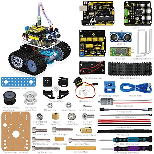 Bluetooth Ultrasonic Remote Control Tank DIY Smart Car Robot for Arduino Starter by Aigh Auality shop