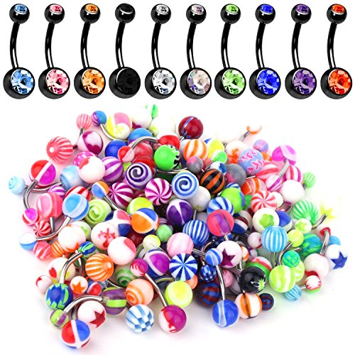 BodyJ4You 60PC Lot of 10 Belly Button Ring Black Surgical Steel and 50 Mix Piercing Jewelry Rings