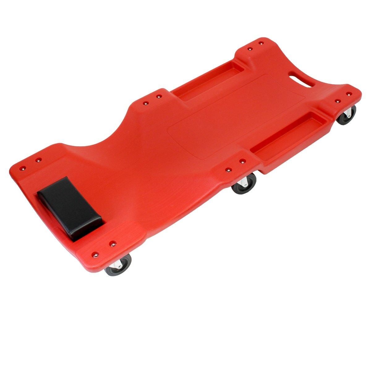ECD Germany KFZ Rollbrett - bis 150kg - 100 x 47, 5 x 12 cm - mit 6 Rollen und komfortabler Kopfpolsterung - aus PE/PVC - Rot - Rollliege Werkstattliege Montageliege Montagerollbrett