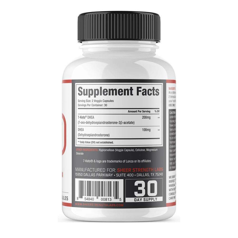 Extra Strength 7 Keto DHEA 200mg Supplement - for Healthy Weight Management, Building Lean Muscle, and Restoring Youthful Energy Levels in Men and Women, Sheer Strength Labs, 60ct by Sheer Strength (Image #2)