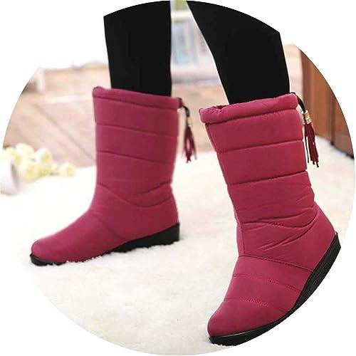 Amazon.com | Winter Women Mid-Calf Down Boots High Bota Waterproof Ladies Snow Winter Woman Plush Insole Botas | Shoes