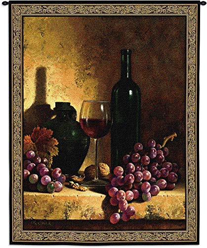 (Wine Bottle with Grapes and Walnuts by Loran Speck | Woven Tapestry Wall Art Hanging | Vintage Wine Classic Masterpiece Realist Renaissance | 100% Cotton USA)