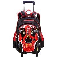 3D Racing Car School Bag with Detachable Trolley Trolley - Red