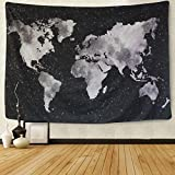 BLEUM CADE Starry World Map Tapestry Black & White Abstract Painting Wall Hanging Home Decor for Living Room Bedroom Dorm Room 51''x59''