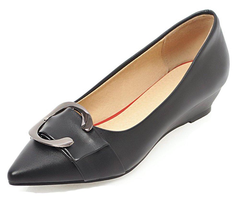 Aisun Women's Comfort Low Cut Buckle Pointed Toe Dressy Low Heel Wedge Pumps Shoes (Black, 8.5 B(M) US)