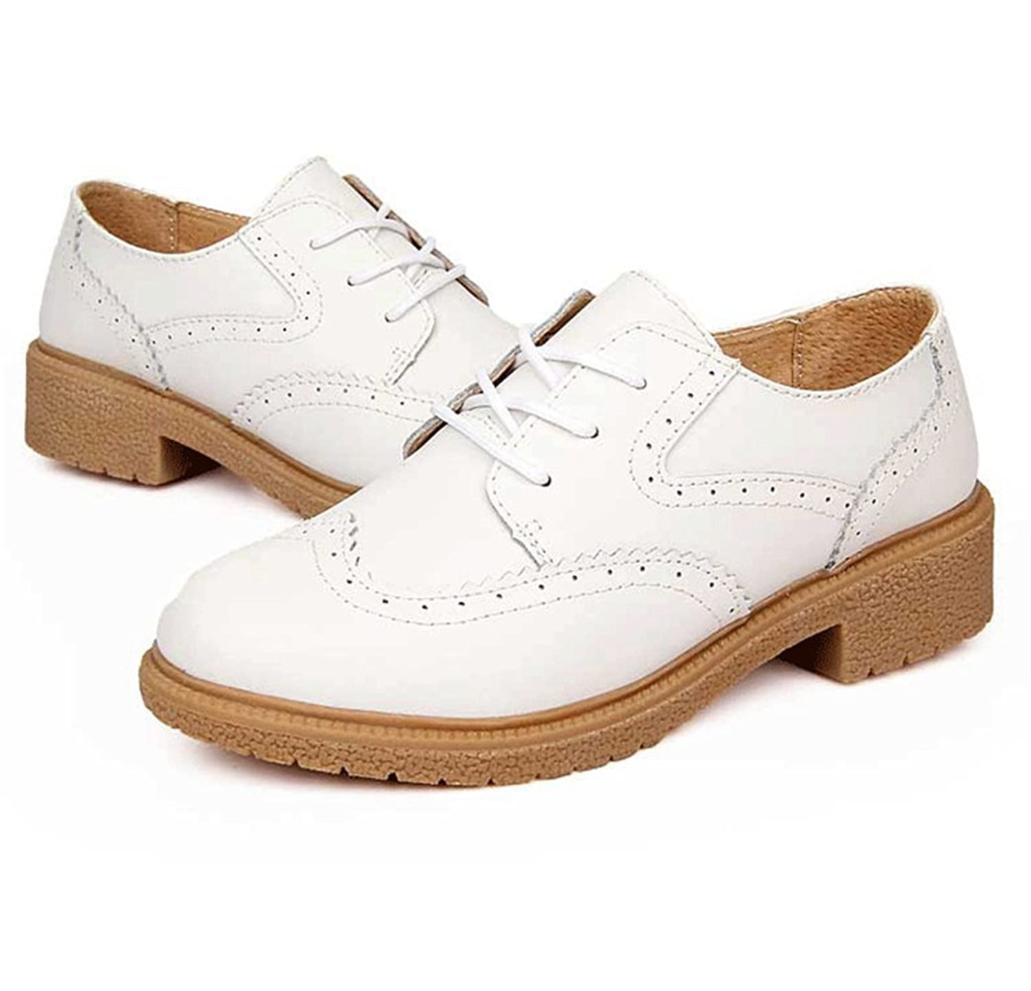 Utopia Boutique Women's Flat Shoe Wingtip Lace Up Leather Oxford Shoes
