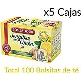 Té Pompadour Jengibre con Limón Pack de 5 Cajas - Total 100 bolsitas de té Jengibre con limón