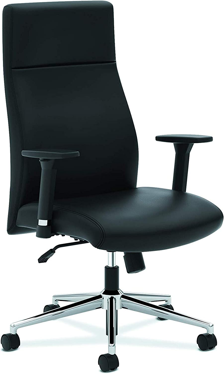 HON Define Executive Leather Chair - High-Back Office Chair for Computer Desk, Black (HVL108)