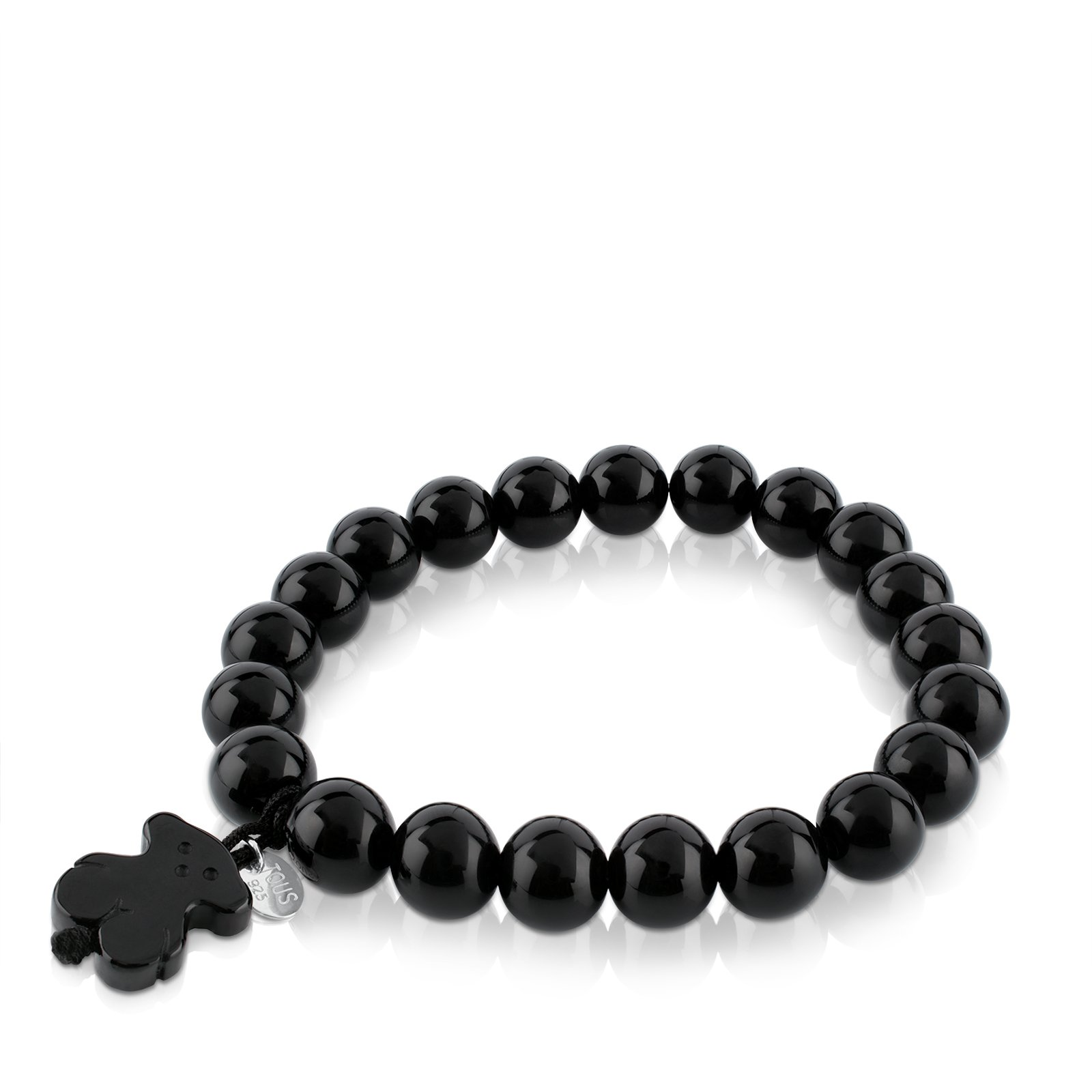 TOUS Jewelry ''Icon Black and White'' Agate with Bear Black Stretch Bracelet by TOUS