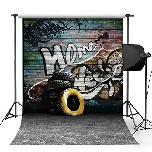 Kooer 5x7ft Hip Hop Style Wall Photography Backdrops The Graffiti Wall Photography Backgrounds Photo Studio Prop Baby Children Family Photoshoot Backdrop Customized Various (Hip Hop Backdrop)
