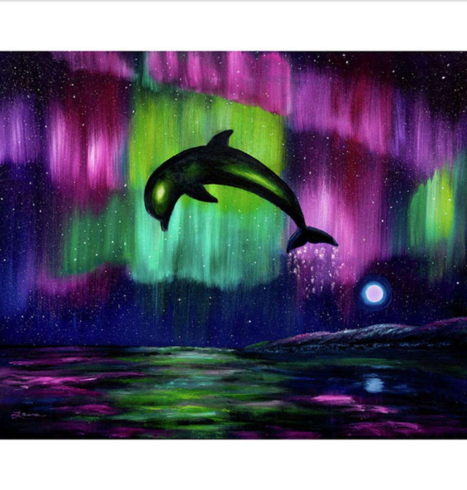 """Ocean Fish Dolphin Paint By Number Kit DIY Canvas Painting Home Wall Art 16x20/"""""""