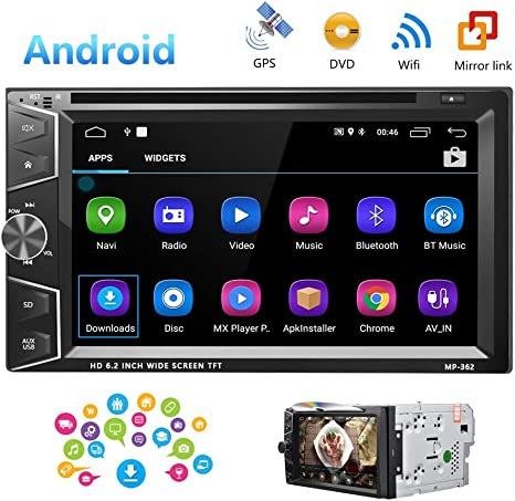 Doble DIN Android True 8.0 Radio estéreo de coche – 7 pulgadas HD ...