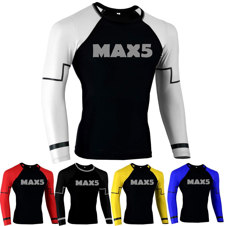 MMA Rash Guard No Gi Jiu Jitsu Fight Shirt (White, XL) by Max5