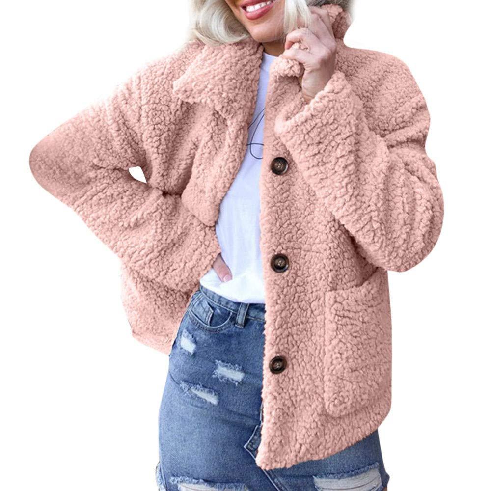 Faux Fur Coats Women Teddy Bear Jacket Fleece Lapel Coat Winter Pockets