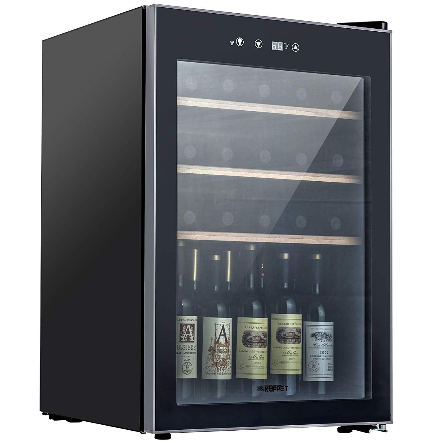 KUPPET Thermoelectric 35 Bottle Wine Cooler, Counter Top Wine Cellar, Red and White Wine Chiller, Freestanding Refrigerator, Quiet Operation Fridge (Wooden shelf)