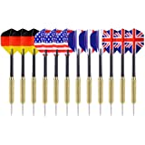 Ohuhu Tip Darts with National Flag Flights Stainless Steel Needle Tip Dart with 3 PVC Dart Rods -12 Pcs (4 Styles)