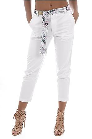 df55fbdad809 Guess Pantalon Femme Chino Candis Blanc  Amazon.fr  Vêtements et accessoires