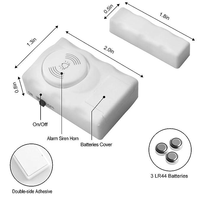 Amazon.com: HUMUTU - Alarma para puerta y ventana, 120 dB ...