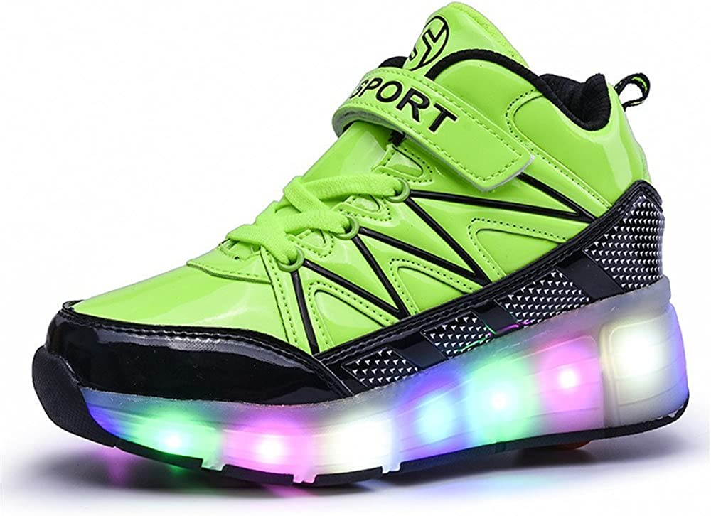Green 35 M EU//3.5 M US Big Kid Girls Boys LED Light Roller Skate Shoes Single Wheel Sneakers