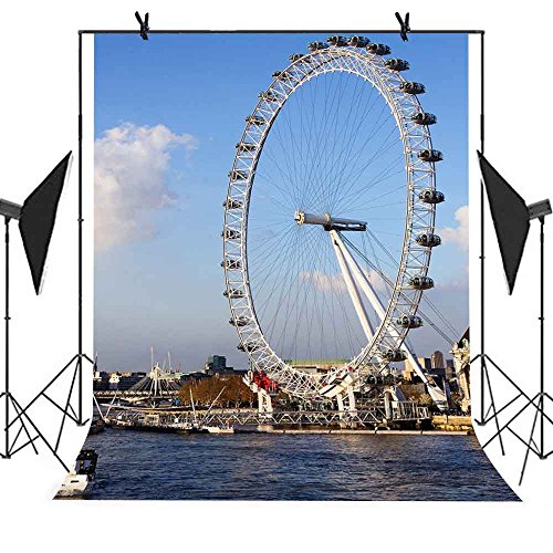 Meets 5x7ft The View The City Backdrop River Ferris Wheel Background Photo Booth Studio Props YouTube Backdrop MT427 -